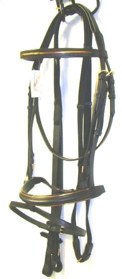 Copper Line Black Padded English Dressage Bridle   WOW
