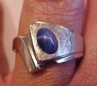 Vintage Mens 10k White Gold Blue Star Sapphire Jeweled Ring * Size 9