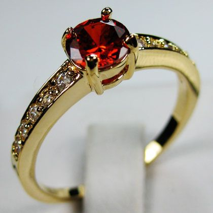 sz8 Jewellery Bland new ruby ladys 10KT yellow Gold Filled Ring