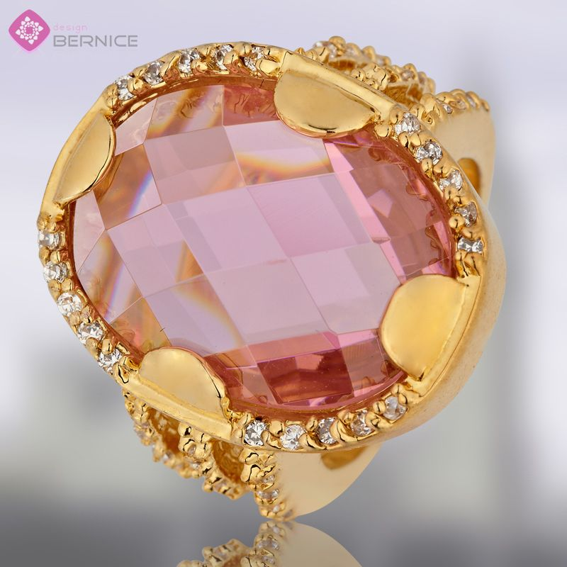 Fashion Wedding Jewelry Oval Pink Sapphire Yellow Gold Plated Ring