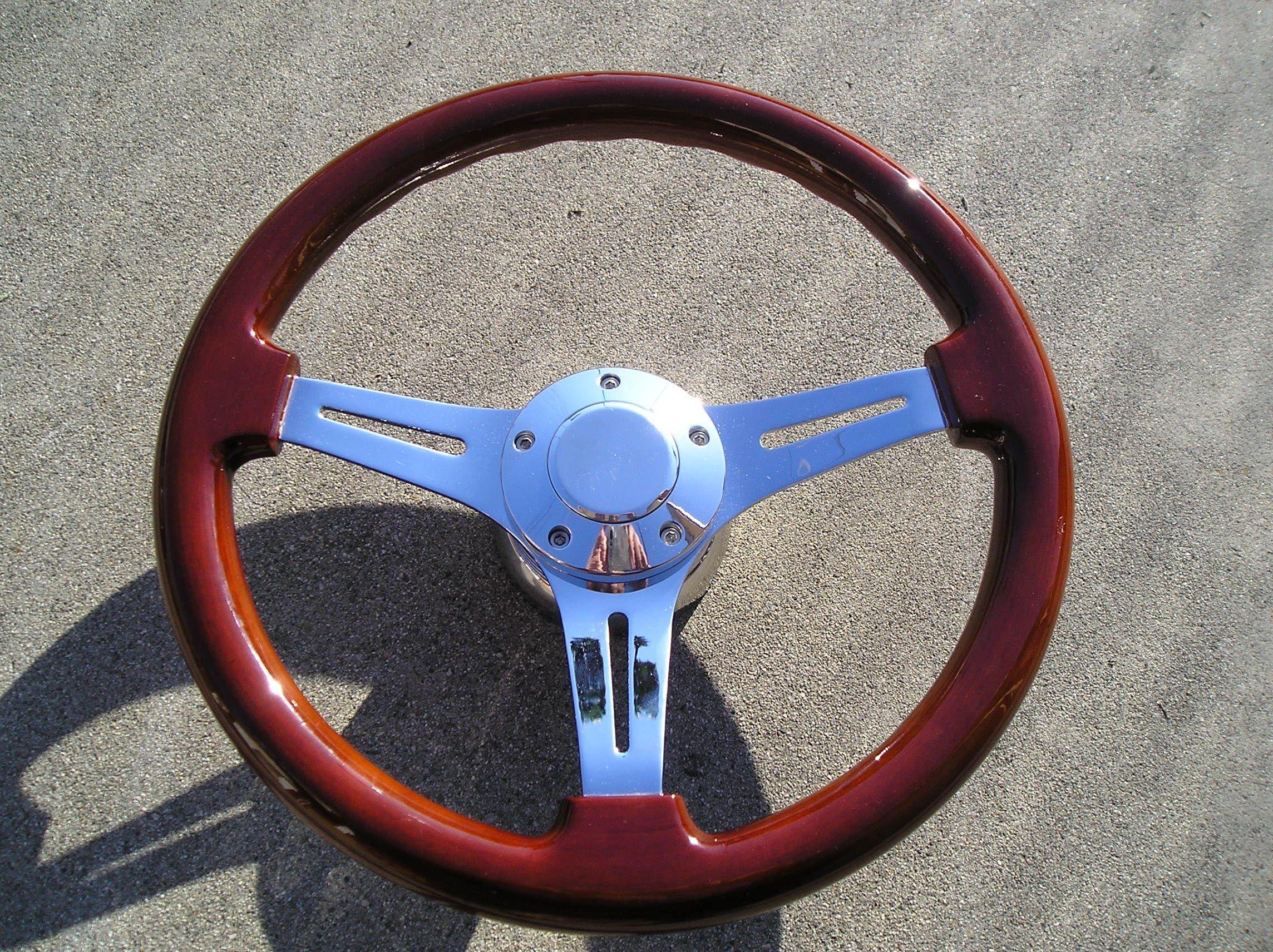 Mahogany wood steering wheel 14 + Adapter 4 chevy Ididit GM Jeep