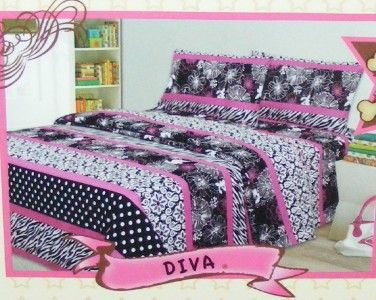 DIVA TWIN Sheet Set ZEBRA Polka DOTS Floral Black White Hot Pink
