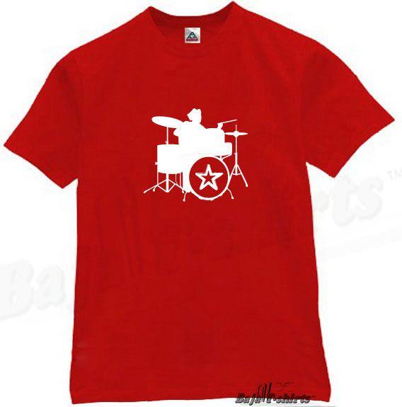 Classic Drums T Shirt Retro Music Rock Tee Punk Red XL