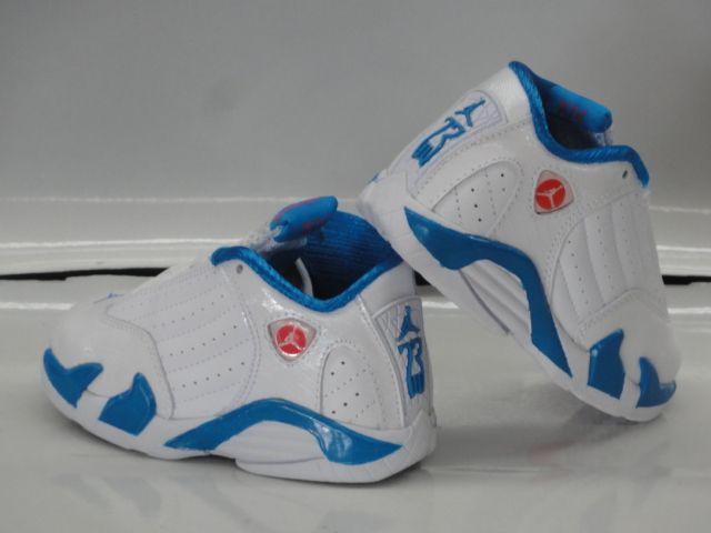 the latest 76738 f6fb5 Nike Air Jordan 14 Retro White Blue Sneakers Toddler Baby ...