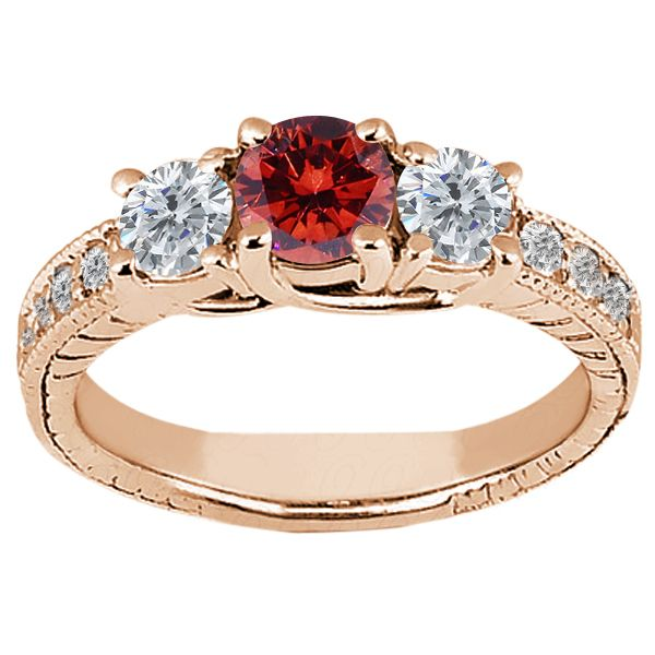 60 Ct Round Cognac Red and White Diamond 14k Rose Gold Ring