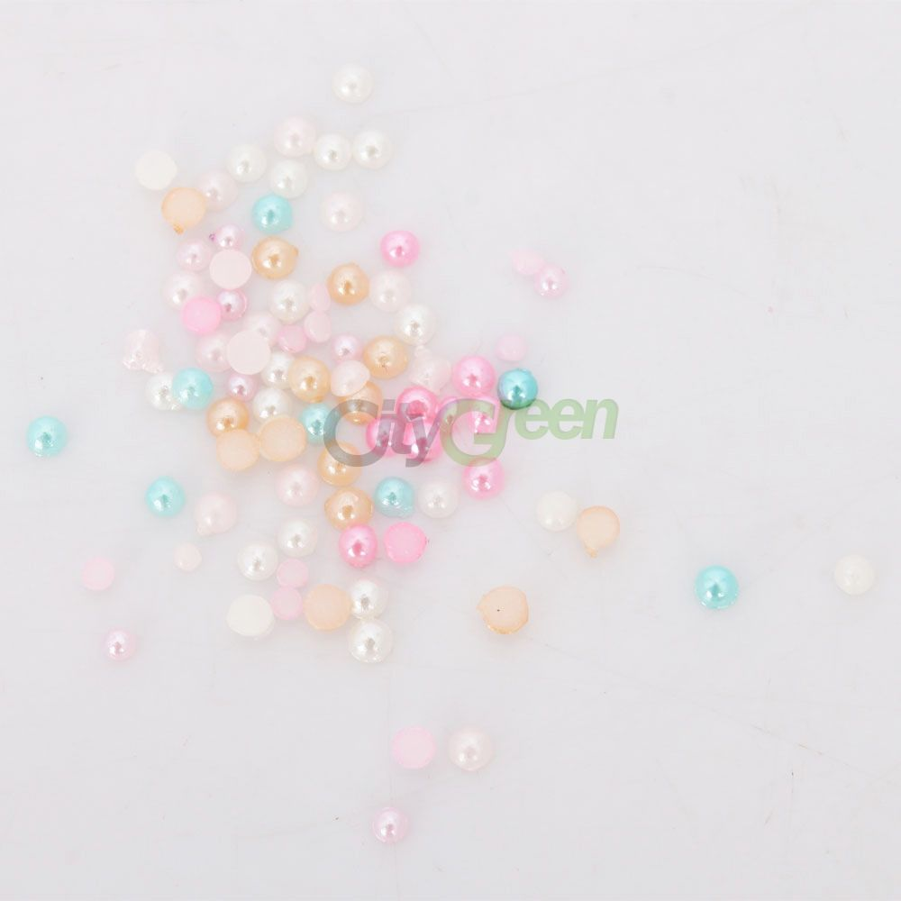 New 6 Colors Cute 3D Nail Art Decoration Pearl Round Nail DIY