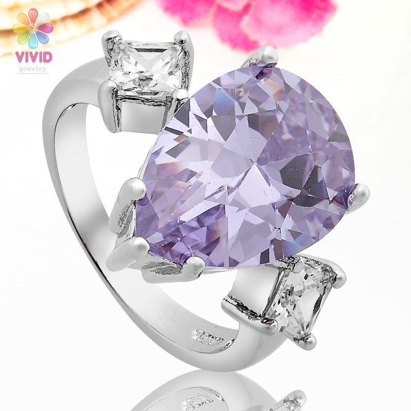 Fashion Jewelry Gift Pear Cut Purple Tanzanite 18k White Gold Plated