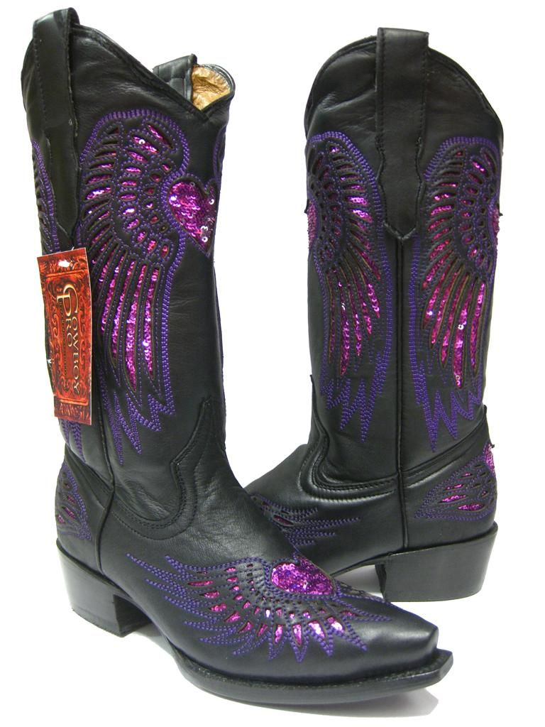 LADIES BLACK LEATHER WESTERN COWBOY BOOTS WITH WINGS & HEARTS SNIP TOE
