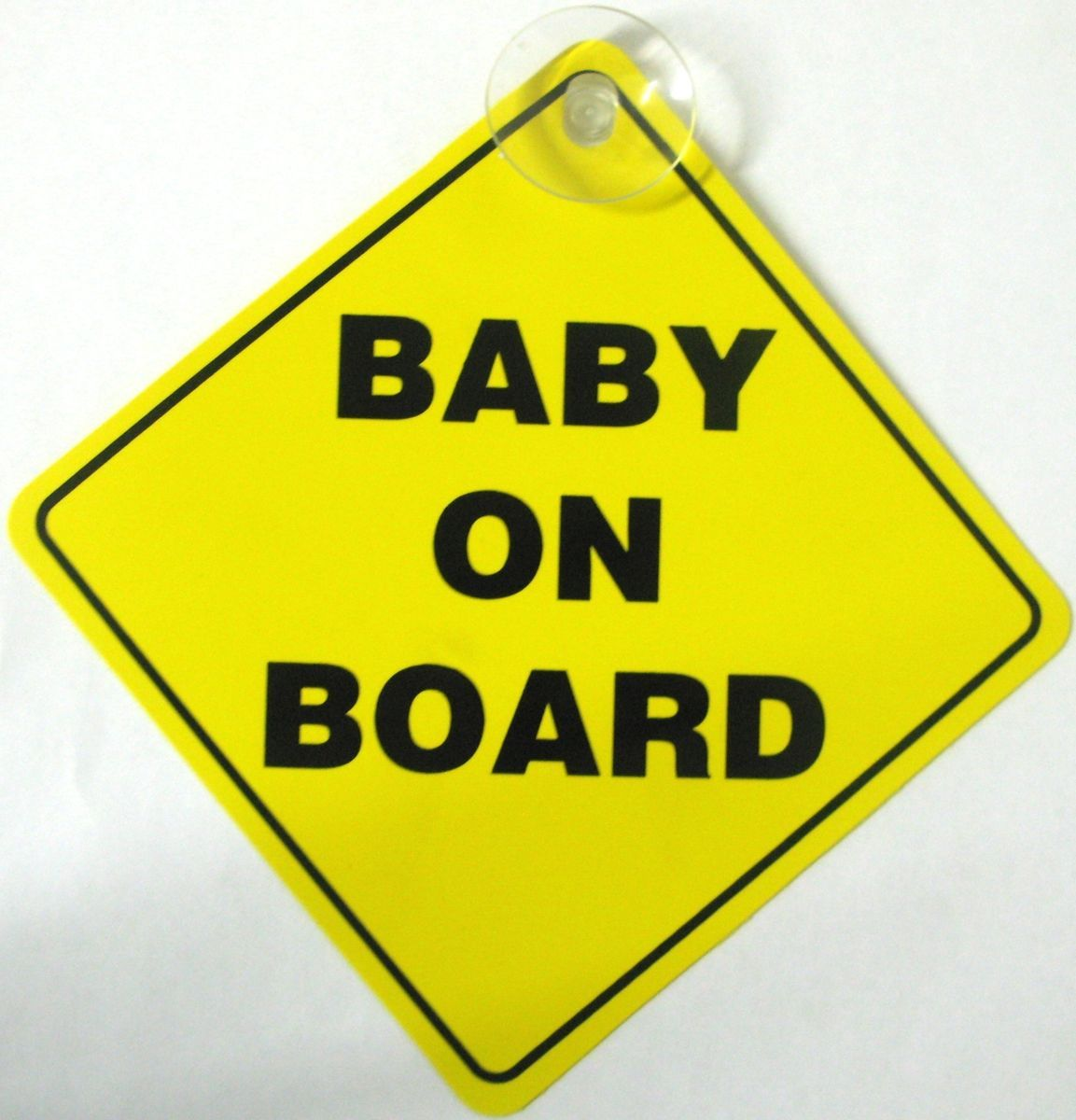 BABY ON BOARD SAFETY CAR WINDOW SUCTION CUP YELLOW WARNING SIGN