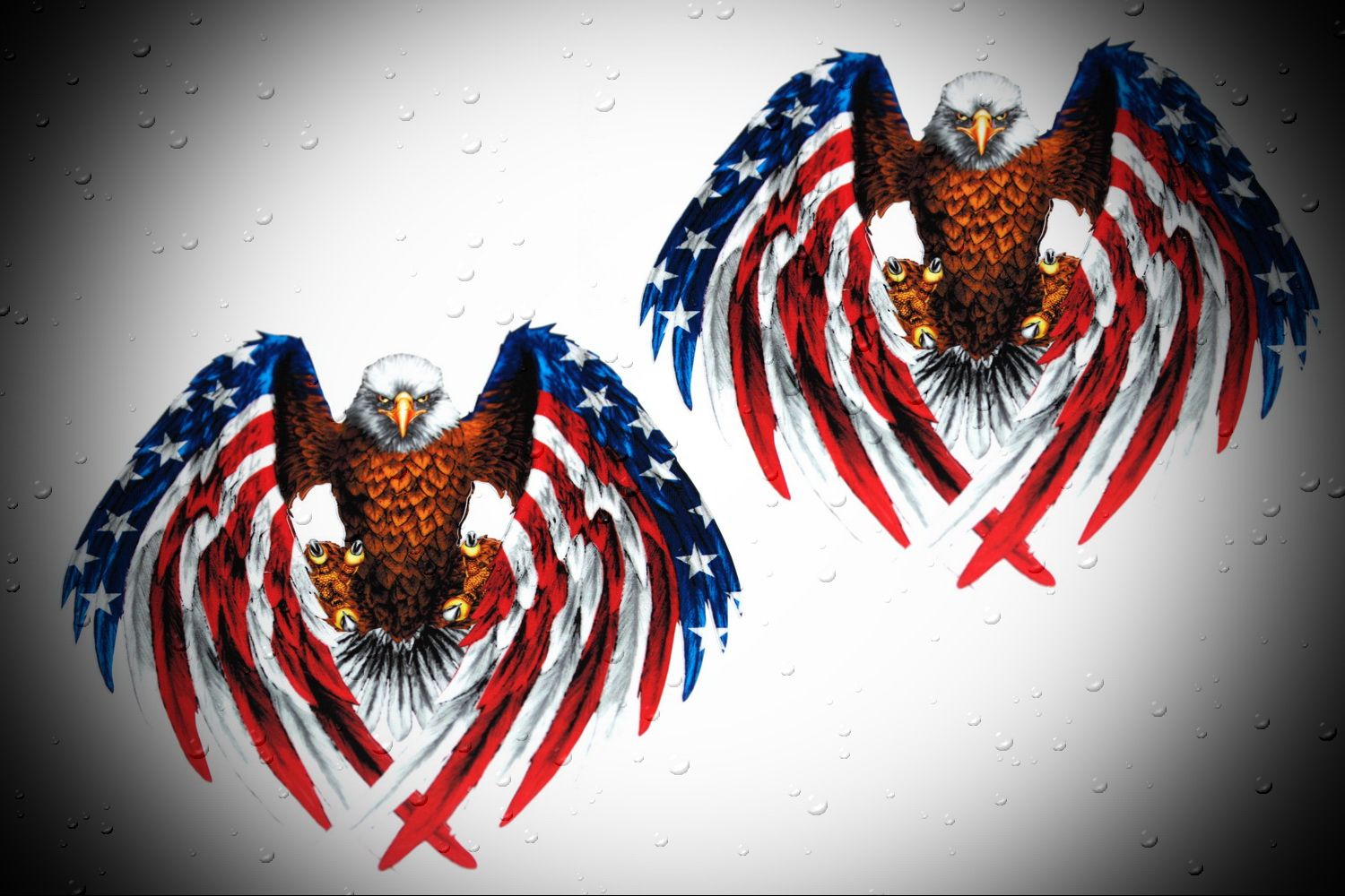 American Flag With Eagle Decals