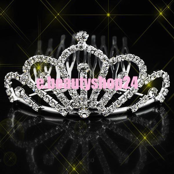 Wedding Bridal Pageant Rhinestone Crystal Crown Tiara 5 x 8cm