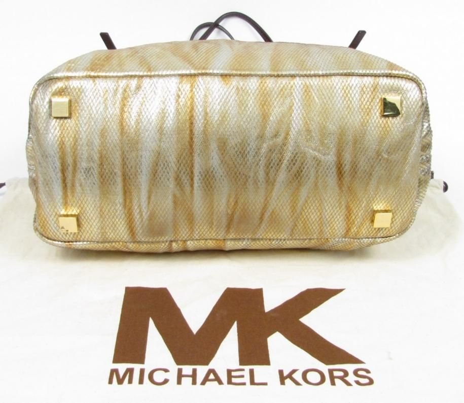 bb3438b00606 595 Michael Kors Darrington Gold Python Leather Slouchy Tote Shopper
