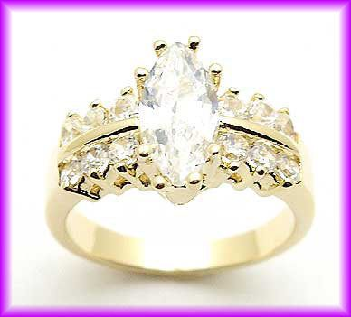 Christmas 1 6 Carat Yellow Gold Plated 14k GP CZ Ring Size 4 5 6 7 8 9