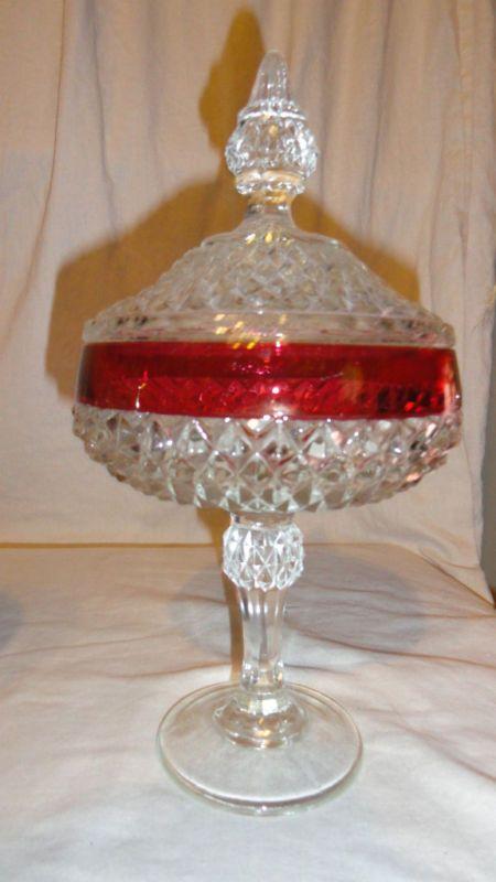 Indiana Glass Diamond Point Flash Red Pedestal Dish LNC