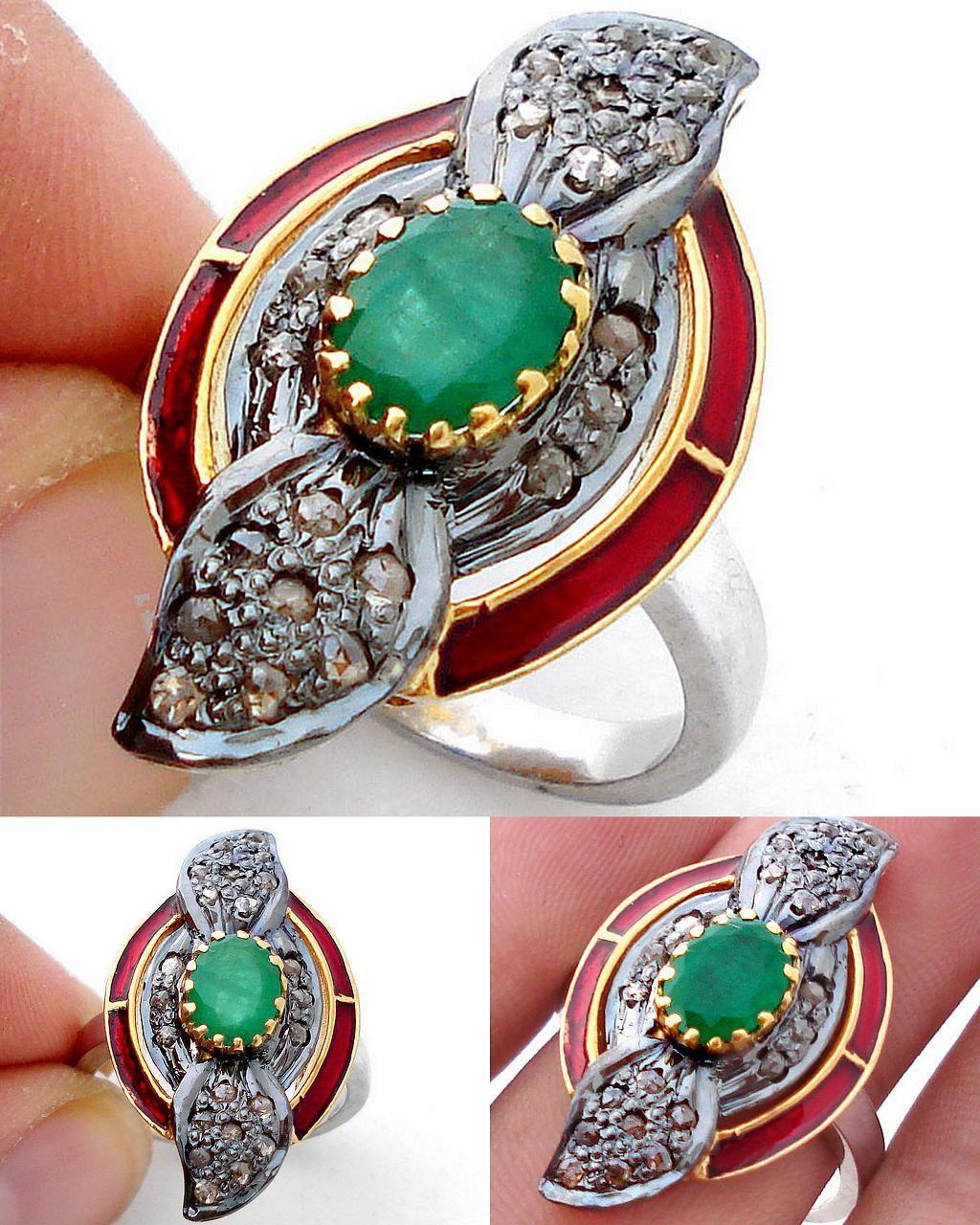 Green Emerald Red Enamel Gold Sterling Silver Diamond Ring 1327