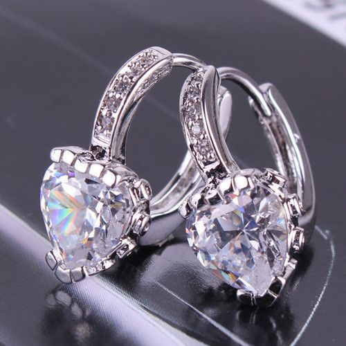 WHITE GOLD FILLED SWAROVSKI CRYSTAL HEART DROP EARRINGS HYPOALLERGENIC