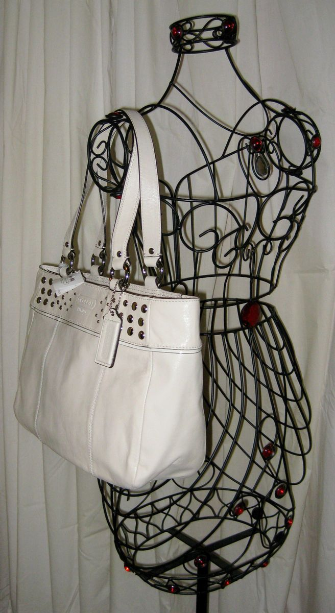 Beige Parchment Leather Silver Studded East West Tote MSRP $378
