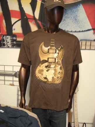 Eric Clapton 2010 Tour Tshirt Brown Fool Guitar Large