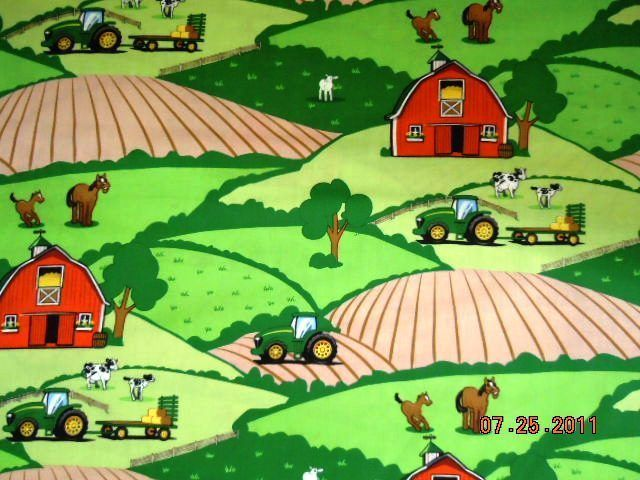 John Deere Fabric Tractor Fabric Farm Animal Scenic 35 x 44 Baby