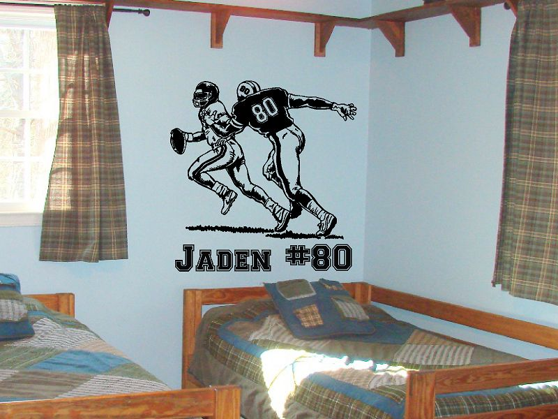 Football Player Tackle Sack with Custom Text Vinyl Wall Decal Sticker