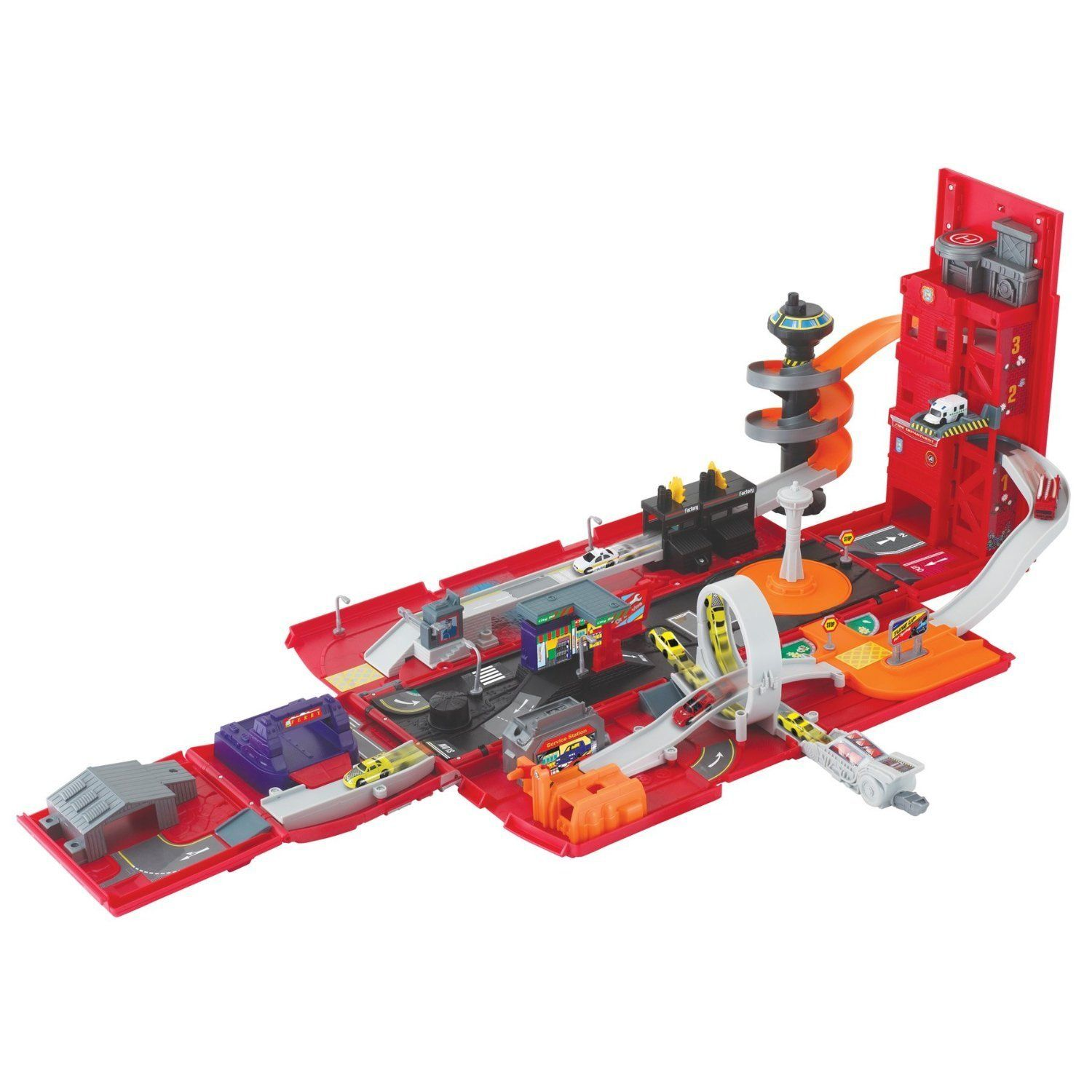 Childrens Takealong Folding Fire Station Playset, 5 vehicles included