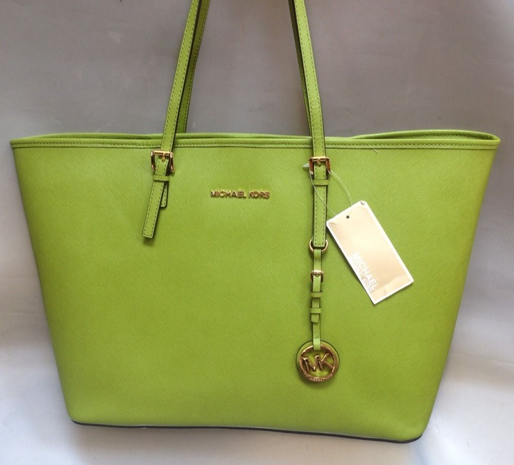 6fc183b03e MICHAEL KORS Jet set Medium Travel Tote Lime Green Bag Purse New