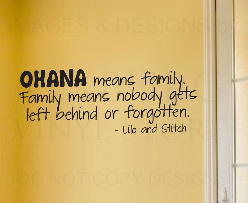 Wall Sticker Decal Quote Vinyl Art Lettering Lilo and Stitch Ohana