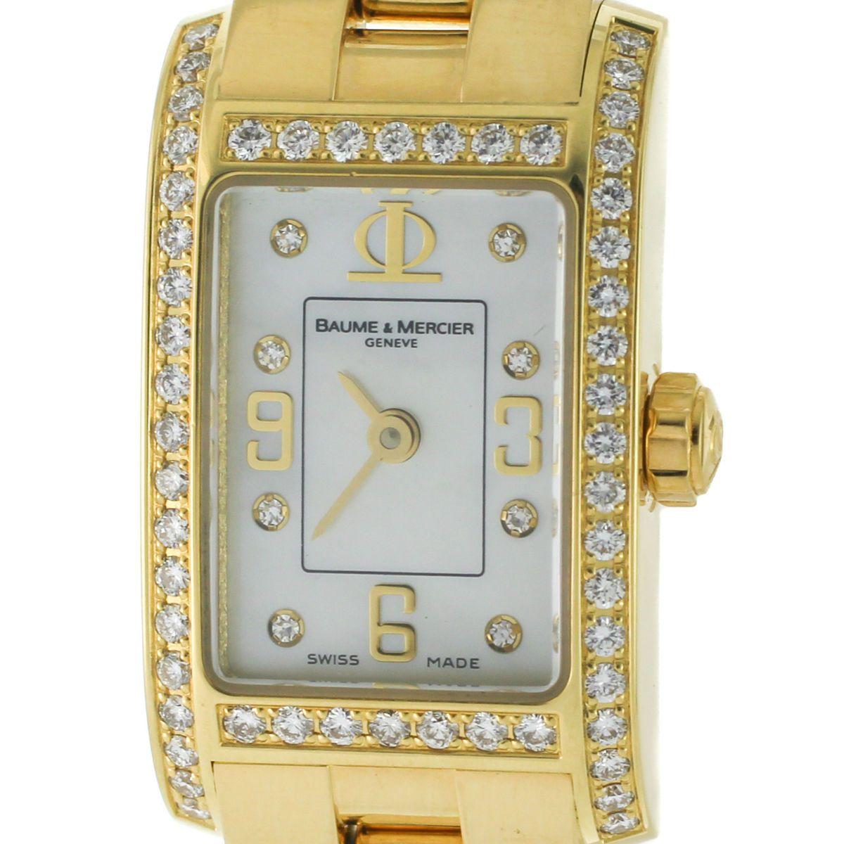 Mercier Geneve Pearl Diamond 18k Solid Yellow Gold Quartz Ladies Watch