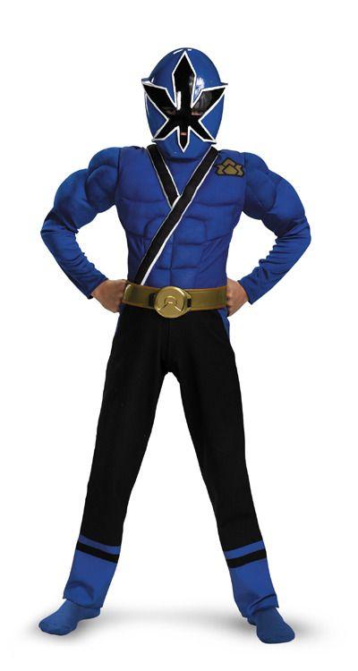 Rangers Blue Ranger Samurai Muscle Chest Costume Child New