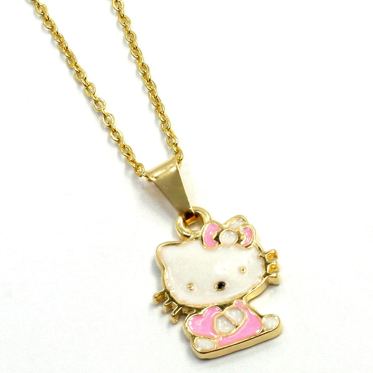 Enamel Hello Kitty Gold 18k GF Pendant Girl Baby Kids Charm & Chain