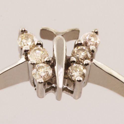 10K White Gold Diamond Butterfly Ring Earrings Jewelry Set