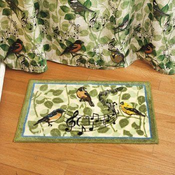 Green Blue Songbird Bird Musical Notes Bath Mat Rug Bathroom Decor
