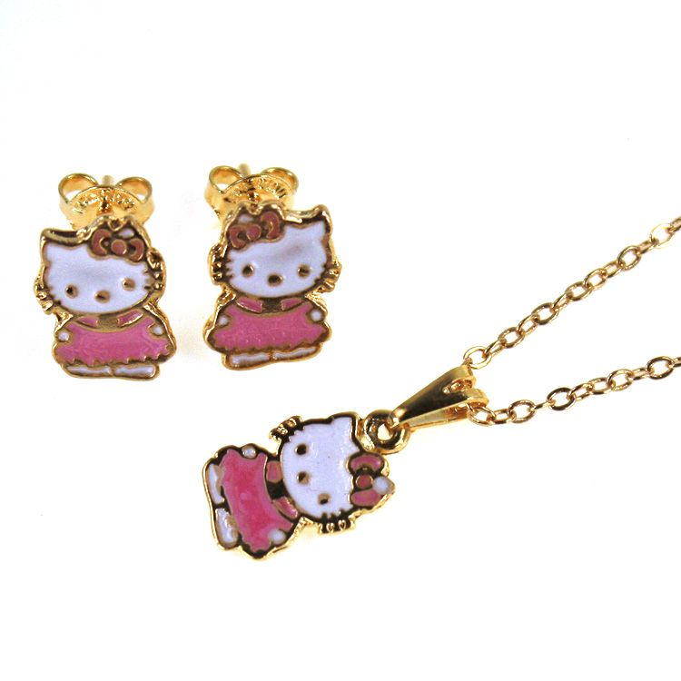 Set Gold 18K GF Earrings Charm Chain Necklace Pendant Pink Hello Kitty