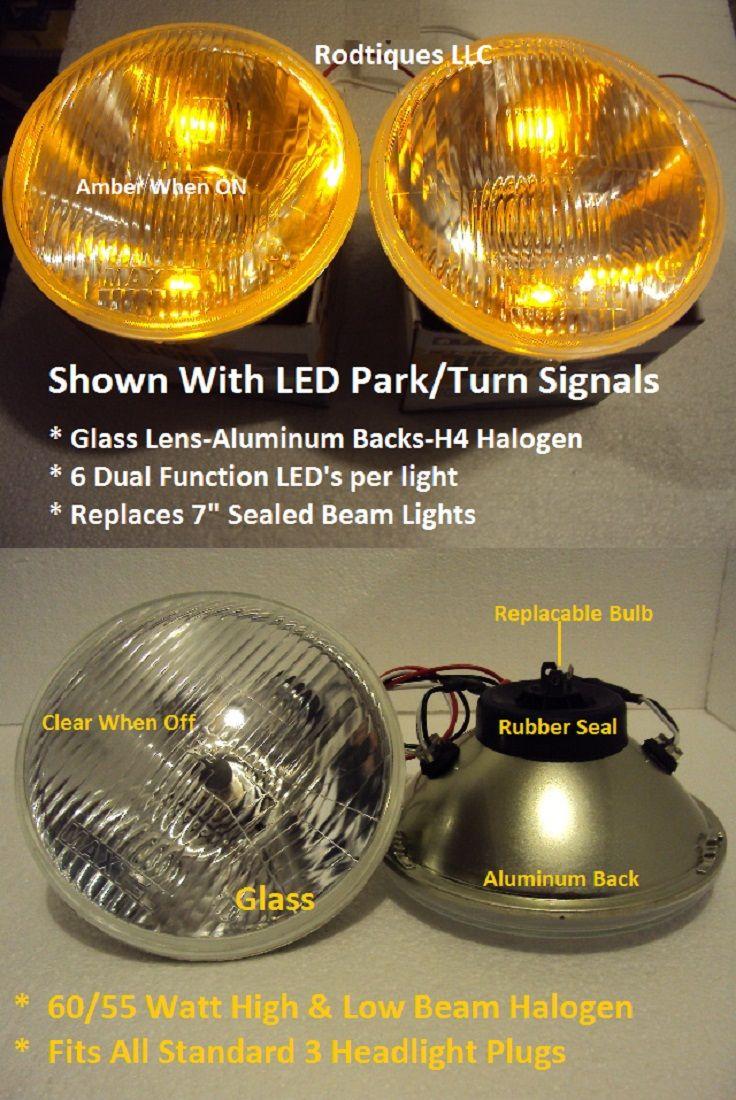 H4 Headlights 12V LED Park Turn Signals Hot Rod Streetrods Rat Rod 2