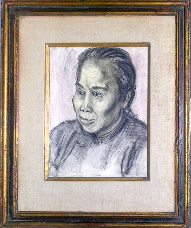 MARION GREENWOOD INSIDE CHINA 1946 CHARCOAL&BRUSH WASH WOMAN PORTRAIT