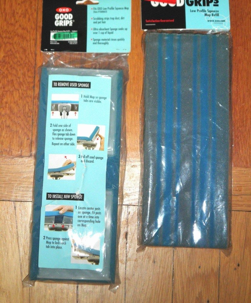 New & Sealed OXO GOOD GRIPS Lot of 2 Low Profile Sponge Mop Refills