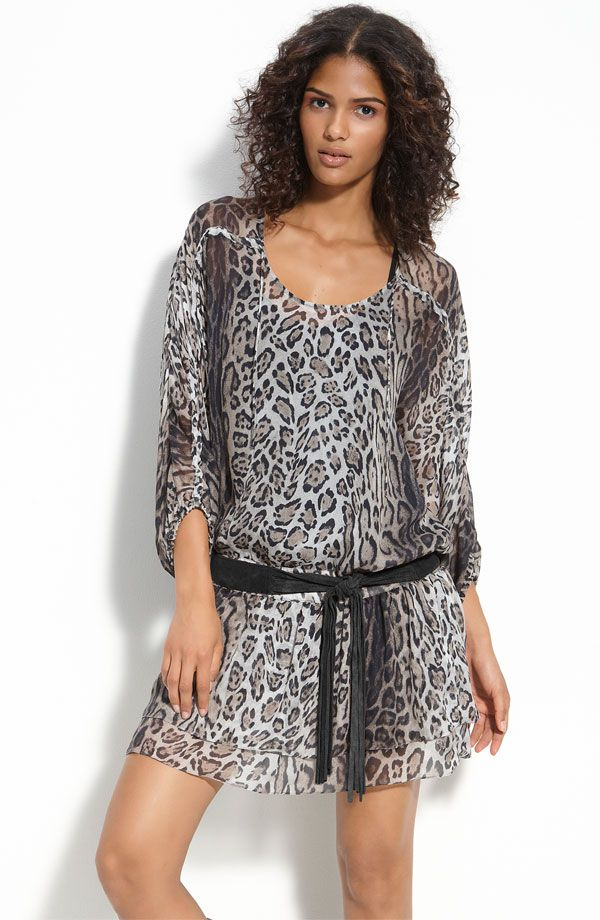 495 Haute Hippie Peasant Leopard Print Dress Size Medium M