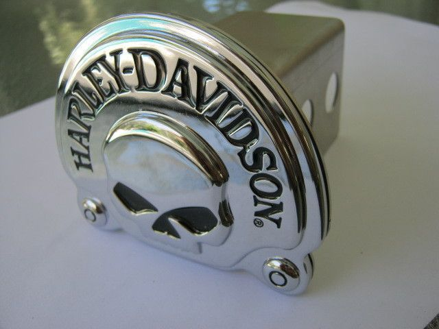 Harley Davidson Emblem Hitch Cover Chrome Skull