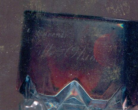 C1915 Granville Ohio Souvenir China Ruby Flash Goblet Glass Cranberry