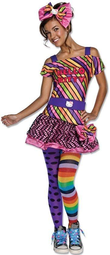 New Tween Teen Girls Hello Kitty Nu Rave Costume Size 2 6