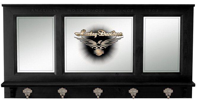 HARLEY DAVIDSON Black Finish Bar Pub Mirror w/ Jacket Coat Hooks   HDL