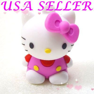 Lovely Pink Sit Hello Kitty Memory USB 2 0 Flash Drive Keychain