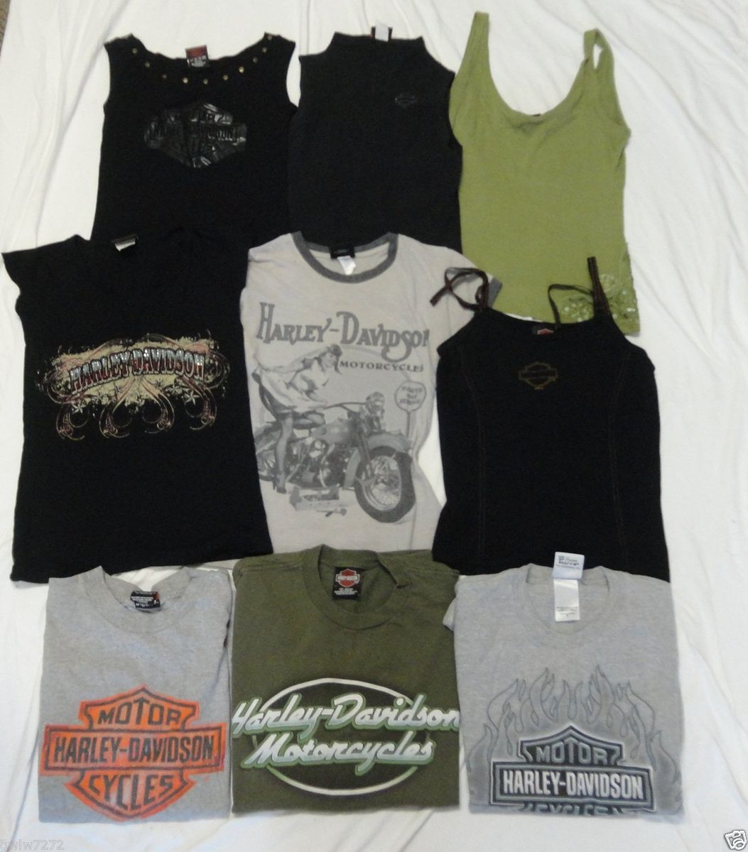 Lot of 9 Harley Davidson Womens Shirts Tank Tops Apparel Small Medium