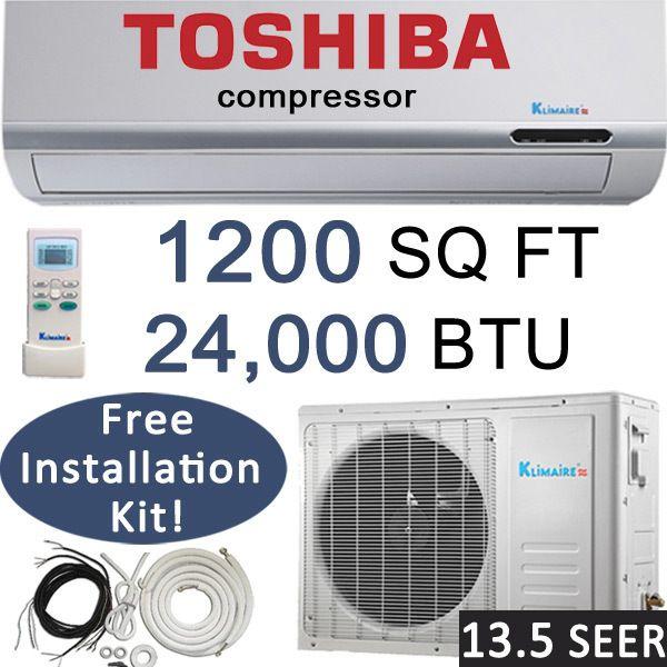 BTU Ductless Air Conditioner, Heat Pump 2 TON Mini Split AC 13.5 SEER
