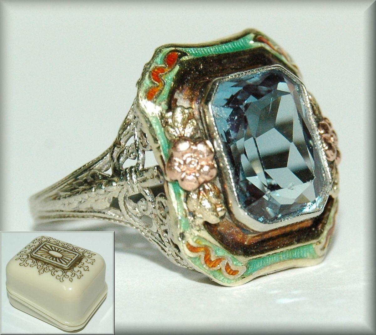 Vintage Blue Spinel in 14K Gold Filigree w enamel accents Art Nouveau