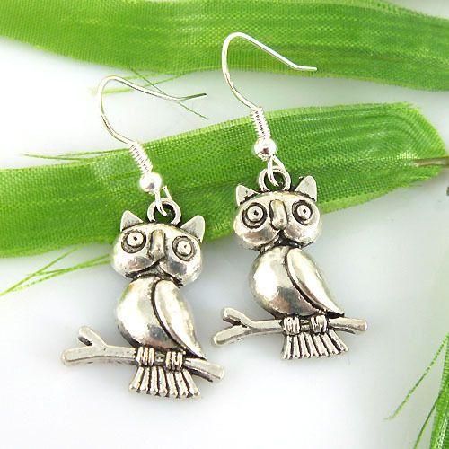 HOT Wholesale Lady 12Pair Lot Charm Fashion Jewellery Silver Owl Stud