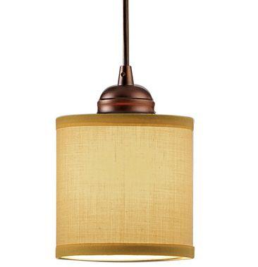 Kitchen Island Ceiling Mini Pendant Light Lighting Tan Fabric Shade