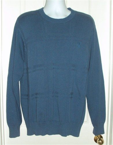 IZOD Mens Blue Windowpane Long Sleeve Crewneck Cotton Sweater Sz XL