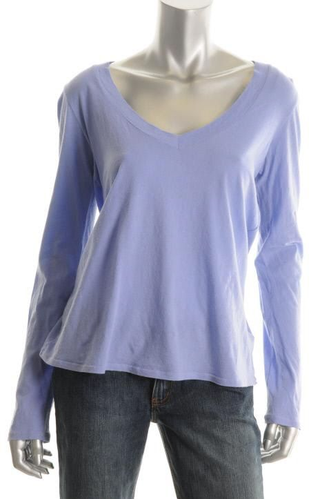 James Perse Blue Stretch Long Sleeve Wide V Neck Pullover Top Shirt 3