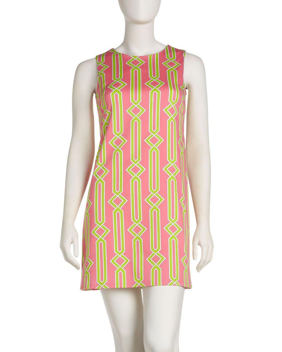 JB by Julie Brown Printed Poplin Shift Dress Pink Lime